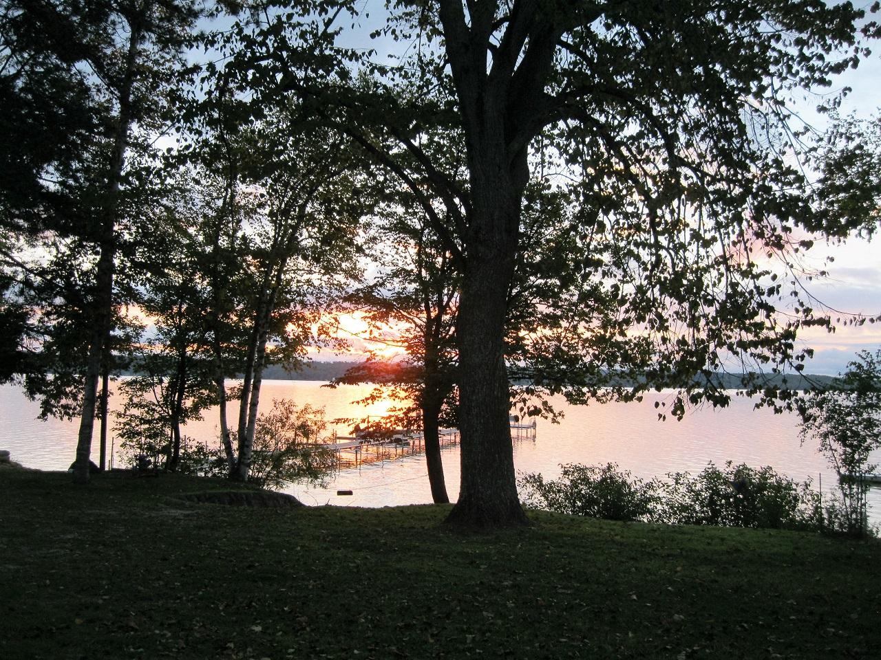 Beautiful sunrise over Leelanau's Rustic Resort